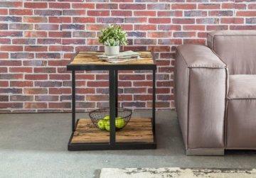 FineBuy Industrial Couchtisch Massivholz Wohnzimmertisch Beistelltisch Ablage