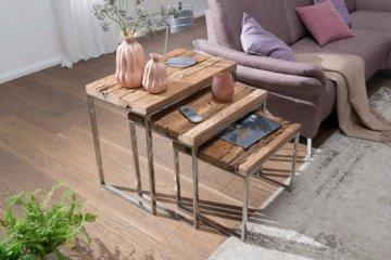 FineBuy Satztisch PRAYA Beistelltisch Massiv Couchtisch Holz Wohnzimmertisch