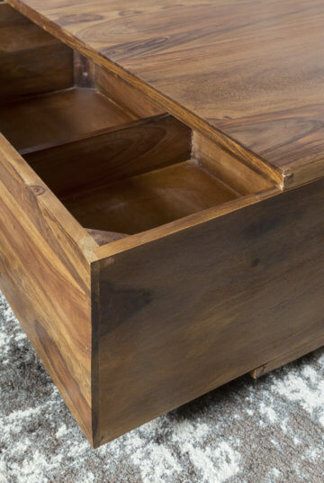 FineBuy Sheesham Couchtisch BOX Wohnzimmertisch Quadratisch Schublade & Ablage