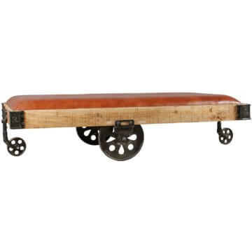 FineBuy Wohnzimmertisch 186x50x101 cm Tisch Massiv Couchtisch Holz Industrial