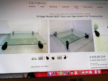 Gae Aulenti Couchtisch - Fontana Arte Industrietisch Coffe Table Glass Metall