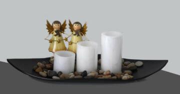 Geschenkset 3 LED Kerzen mit Schale und Deko, Steinen& Engel Weihnachtgeschenk