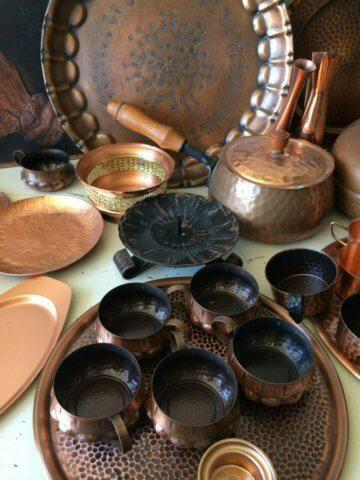 Kupfer Kupferschrott Konvolut Deko Schalen Vasen graviert Kerzenständer 9,6 kg