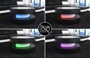 Runder Couchtisch MODENA Design Wohnzimmertisch LED Beleuchtung Leder Farbwahl