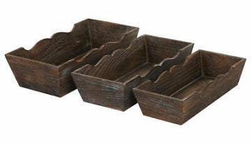 Shabby-Look Set, 3x Kerzenständer H361, braun, 3x Obstschale Dekoschale H283