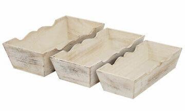 Shabby-Look Set, 3x Obstschale Dekoschale H283, 3x Kerzenständer H361, weiß