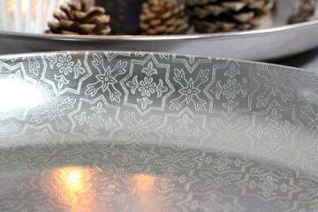 Tablett Schale Silber Kerzenteller Deko Dekoteller Rund Dekoschale Shabby Antik