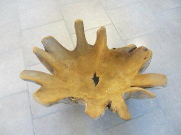 Teak Holz Wurzelholz-Schalem mit Kerze natur mit Glas Windlicht Wohndeko