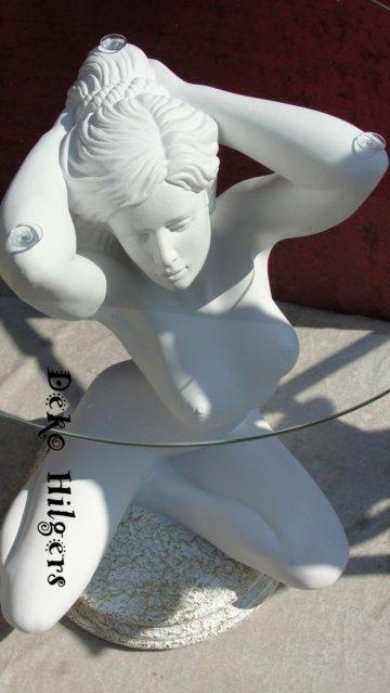 Tisch Frau Akt Figur Glas Couchtisch Beistelltisch Dekoration Deko Skulptur F1+G