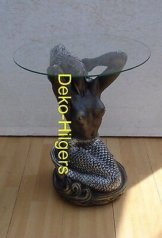 Tisch Meerjungfrau Frau Akt Glas Couchtisch Beistelltisch Figur Skulptur Deko