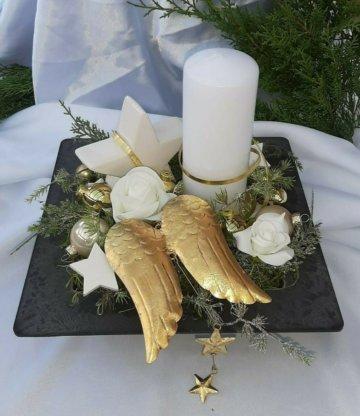 Tischgesteck Tischdeko Adventsgesteck Schale Flügel Stern gold edel modern Kerze