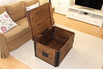 Uncle Joe´s Holzkiste Truhe Couchtisch Beistelltisch Vintage Shabby chic Landhaus Massivholz nussbaum - 5