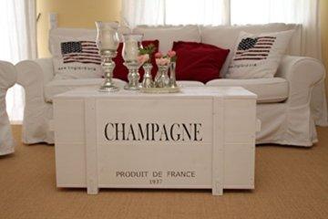 Uncle Joe´s Truhe Champagne Couchtisch Truhentisch im Vintage Shabby chic Style aus Massiv-Holz in Weiss mit Stauraum und Deckel Holzkiste Beistelltisch Landhaus Wohnzimmertisch Holztisch weiß - 2