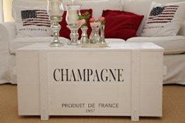 Uncle Joe´s Truhe Champagne Couchtisch Truhentisch im Vintage Shabby chic Style aus Massiv-Holz in Weiss mit Stauraum und Deckel Holzkiste Beistelltisch Landhaus Wohnzimmertisch Holztisch weiß - 1