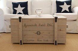 Uncle Joe´s Truhe Roosevelt Couchtisch Truhentisch im Vintage Shabby chic Style aus Massiv-Holz in grau mit Stauraum und Deckel Holzkiste Beistelltisch Landhaus Wohnzimmertisch Holztisch - 1