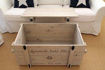 Uncle Joe´s Truhe Roosevelt Couchtisch Truhentisch im Vintage Shabby chic Style aus Massiv-Holz in grau mit Stauraum und Deckel Holzkiste Beistelltisch Landhaus Wohnzimmertisch Holztisch - 4