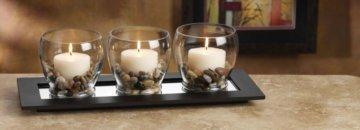 Votivhalter BATIK rechteckig, Holzschale verspiegelt mit Kerzen im Glas und Deko