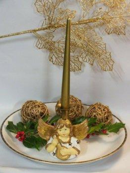 Weihnachten/ Advent Deko Schale/ Platte  Porzellan Engel / Messing Kerzenhalter