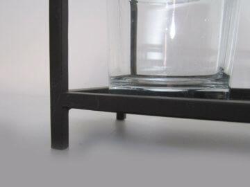 WMG Deko Metallschale Teelichthalter mit 4 Gläsern Kerzentablett /P