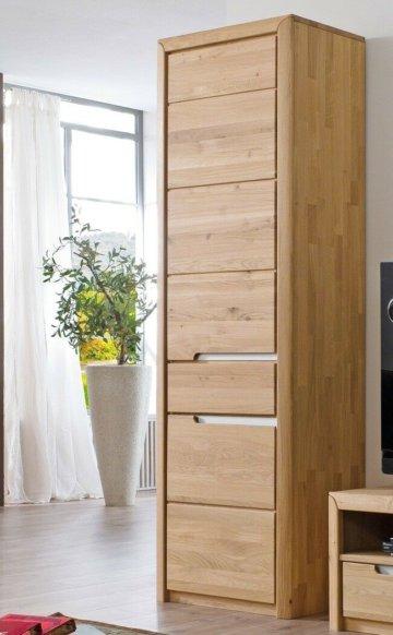 Wohnzimmer Eiche massiv bianco 5-teilig Wohnwand Highboard Couchtisch Pisa 50