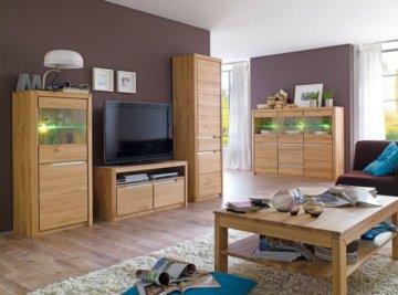 Wohnzimmer Eiche massiv bianco 5-teilig Wohnwand Highboard Couchtisch Pisa 51