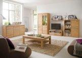 Wohnzimmer Eiche massiv bianco 6-teilig Wohnwand Couchtisch Sideboard Pisa 42