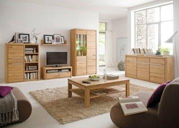 Wohnzimmer Eiche massiv bianco 6-teilig Wohnwand Couchtisch Sideboard Pisa 43