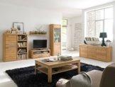 Wohnzimmer Eiche massiv bianco 6-teilig Wohnwand Couchtisch Sideboard Pisa 49