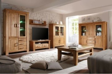Wohnzimmer Wildeiche 6-teilig teilmassiv Wohnwand Couchtisch Highboard Viterbo 2