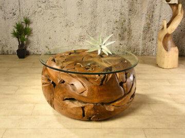 Wurzelholz Tisch Elements 80x80 Couchtisch Wohnzimmertisch Teakholz Massivholz