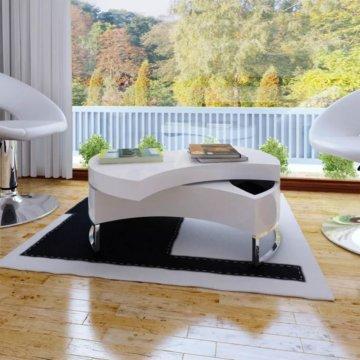 2 Farben Formverstellbarer Couchtisch Wohnzimmer Drehbarer Tisch 80 x 32,5 cm
