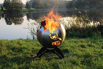 BlazeBall Feuerkugel Weltkugel 60 cm Feuerschale mit Ständer Feuerkorb Brennstelle - 1