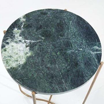 cagü: Design Couchtisch [FLORENTIN] Grün aus Marmor mit Gold Gestell 62cm Durchmesser - 4