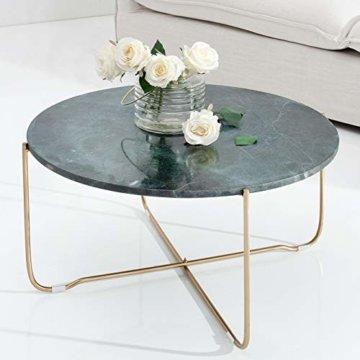 cagü: Design Couchtisch [FLORENTIN] Grün aus Marmor mit Gold Gestell 62cm Durchmesser - 1