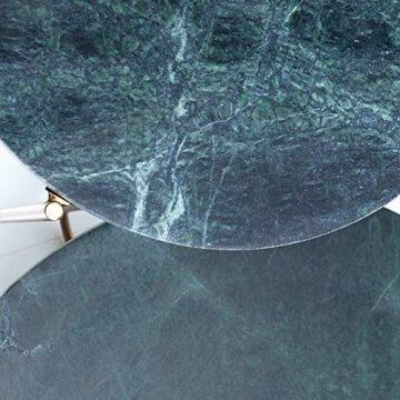 cagü: Design Couchtisch [FLORENTIN] Grün aus Marmor mit Gold Gestell 62cm Durchmesser - 5
