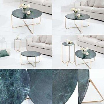 cagü: Design Couchtisch [FLORENTIN] Grün aus Marmor mit Gold Gestell 62cm Durchmesser - 6
