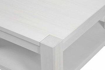 Couchtisch Beistelltisch mit Ablage,Rio Bonito, 100x70cm, Höhe 55cm, Pinie Massivholz Weiss lackiert, Wohnzimmer Tisch Farbton White Grain (Höhe 55cm) - 3