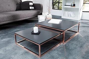 DuNord Design Couchtisch Beistelltisch 2er STAGE anthrazit matt Kupfer Design Tisch Set - 2