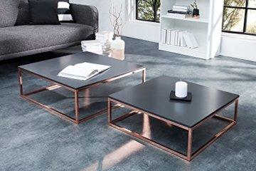 DuNord Design Couchtisch Beistelltisch 2er STAGE anthrazit matt Kupfer Design Tisch Set - 3