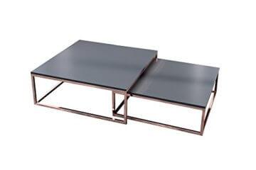 DuNord Design Couchtisch Beistelltisch 2er STAGE anthrazit matt Kupfer Design Tisch Set - 1