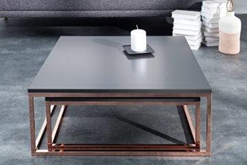 DuNord Design Couchtisch Beistelltisch 2er STAGE anthrazit matt Kupfer Design Tisch Set - 5