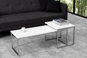 DuNord Design Couchtisch weiß modern Beistelltisch STAGE LONG 2er Set chrom Design Tisch Set - 2