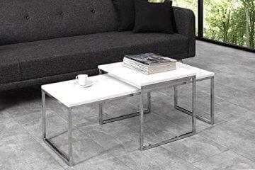 DuNord Design Couchtisch weiß modern Beistelltisch STAGE LONG 2er Set chrom Design Tisch Set - 3