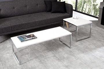 DuNord Design Couchtisch weiß modern Beistelltisch STAGE LONG 2er Set chrom Design Tisch Set - 4