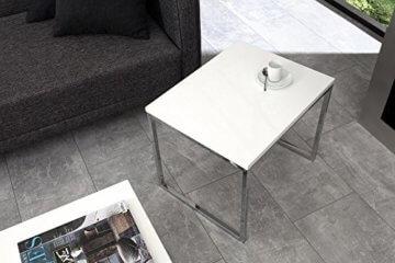 DuNord Design Couchtisch weiß modern Beistelltisch STAGE LONG 2er Set chrom Design Tisch Set - 5