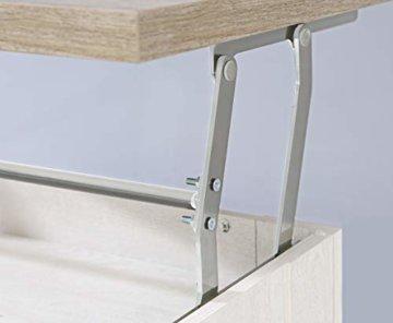 FORTE Wohnzimmer Couchtisch Wohnzimmertisch, Holzwerkstoff, 110 x 44,4 66,3 x 65 (max 94,1) cm, mit hochklappbarer Tischplatte und Ablagefläche, Pinie Weiß Dekor, One Size - 2
