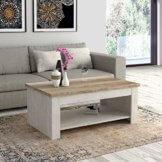 FORTE Wohnzimmer Couchtisch Wohnzimmertisch, Holzwerkstoff, 110 x 44,4 66,3 x 65 (max 94,1) cm, mit hochklappbarer Tischplatte und Ablagefläche, Pinie Weiß Dekor, One Size - 1