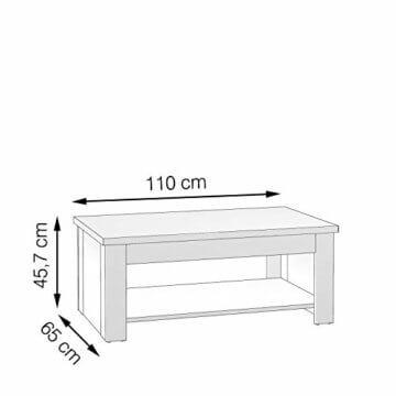 FORTE Wohnzimmer Couchtisch Wohnzimmertisch, Holzwerkstoff, 110 x 44,4 66,3 x 65 (max 94,1) cm, mit hochklappbarer Tischplatte und Ablagefläche, Pinie Weiß Dekor, One Size - 3
