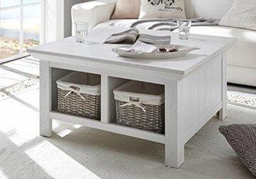 lifestyle4living Couchtisch in Pinie Weiß Dekor | Tisch hat 2 offene Fächer und EIN Staufach | Sofatisch ist 93 cm breit - 1