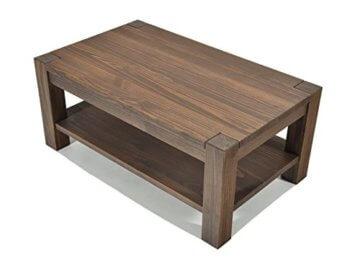 Naturholzmöbel Seidel Couchtisch Beistelltisch mit Ablage,Rio Bonito, 100x70cm, Höhe 55 cm, Pinie Massivholz, geölt und gewachst, Wohnzimmer Tisch Farbton Cognac braun - 1